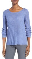 Eileen Fisher Rib Knit Bateau Neck Pullover (Regular & Petite)