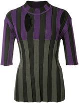 Nina Ricci striped cut-out detail blouse - women - Polyamide/Spandex/Elastane/Viscose/Wool - S
