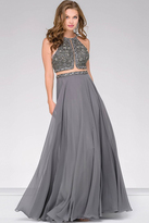 Jovani Embellished Open Back Chiffon Dress 46676