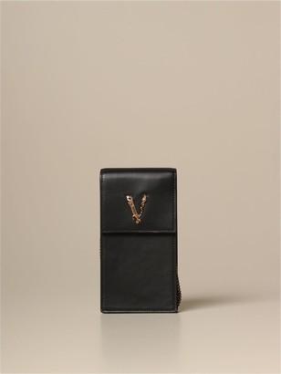 Versace Virtus Phone Holder Bag In Leather
