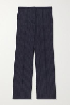 Nina Ricci Cropped Pinstriped Wool Straight-leg Pants - Navy