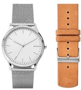 Skagen Jorn Mesh & Leather Strap Watch Set, 41Mm