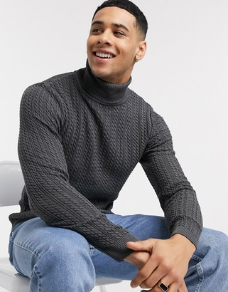 Asos Design DESIGN muscle fit cable roll neck sweater in charcoal-Gray