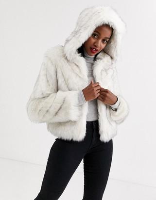 Asos DESIGN hooded faux fur jacket in white