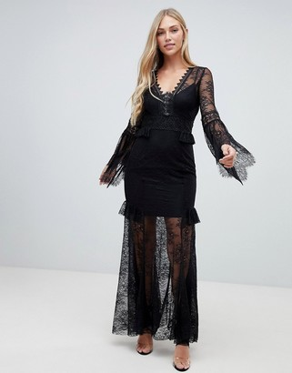 Forever New lace sleeve maxi dress in black