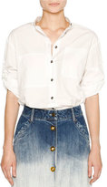 Tomas Maier Airy Poplin Button-Front Blouse, White