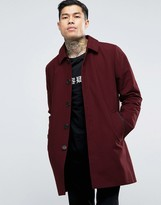 Asos Single Breasted Trench Coat With Shower Resistance In Burgundy