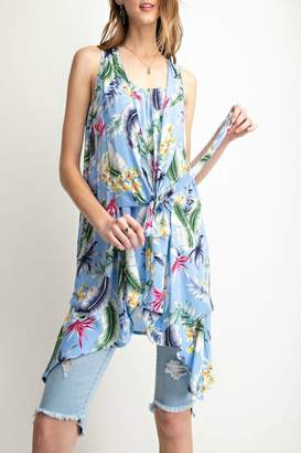Easel Tropical-Print Tie-Front Tunic