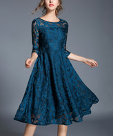 Coeur De Vague Coeur de Vague Women's Special Occasion Dresses Blue - Teal Lace Three-Quarter Sleeve Fit & Flare Dress - Women