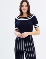 Wallis Stripe Bardot Knitted Top