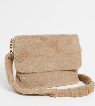 Glamorous Exclusive faux fur cross body bag in camel