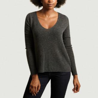 American Vintage Anthracite Merino Wool Nanibeach V Neck Sweater - small | merino wool | anthracite