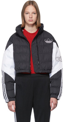 adidas Black and White Cropped Down Jacket