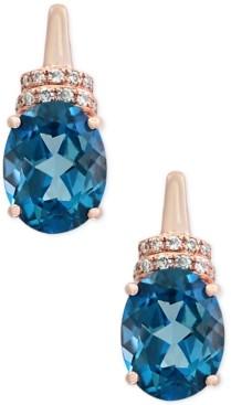 Effy Ocean Bleu by London Blue Topaz (4-1/4 ct. t.w.) and Diamond Accent Drop Earrings in 14k Rose Gold