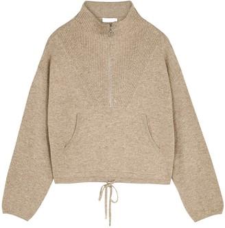 Jonathan Simkhai Hana Taupe Half-zip Knitted Jumper
