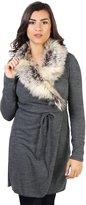 KRISP Fur Collar Tie Belted Cardigan (7268-CHA-OS)