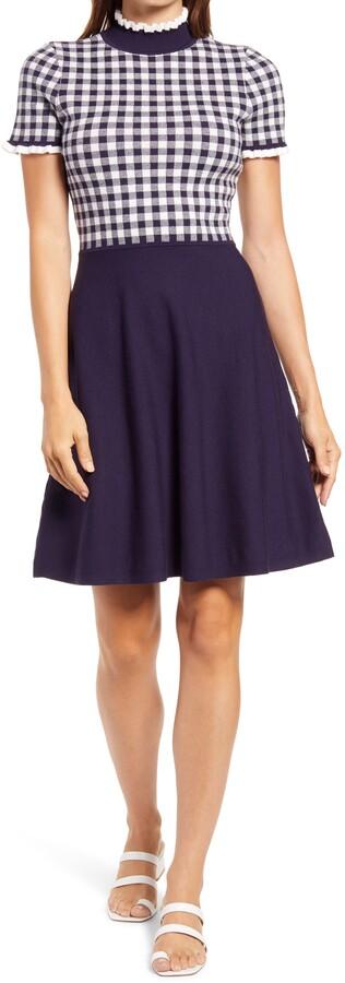 Eliza J Gingham Bodice Short Sleeve Fit & Flare Dress