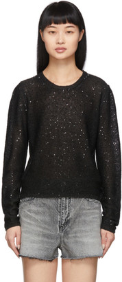 Saint Laurent Black Sequin Sweater