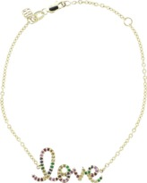 Sydney Evan Large Rainbow Pave Love Bracelet