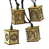 Kurt Adler Wooden Lantern Christmas String Light Set