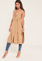 Missguided Brown Double Belt Sleeveless Duster Coat