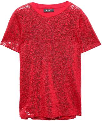 DKNY City Lights Sequined Stretch-cotton Jersey T-shirt