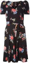 Dorothy Perkins Black Floral Puff Sleeve Fit and Flare Dress