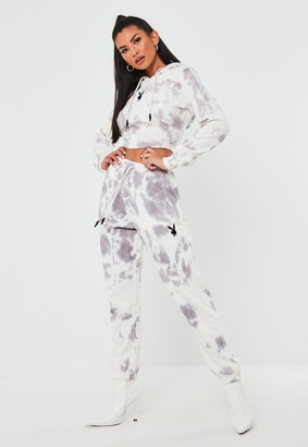Missguided Playboy X Petite Grey Tie Dye Oversized Joggers