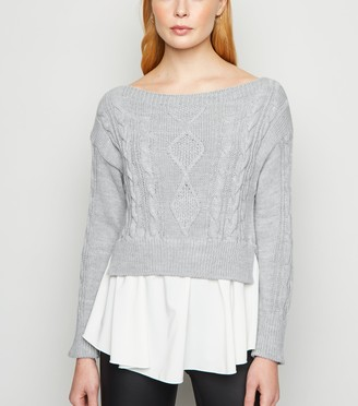 New Look Cameo Rose 2-In-1 Cable Knit Jumper