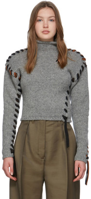 Acne Studios Grey Lace-Up Turtleneck