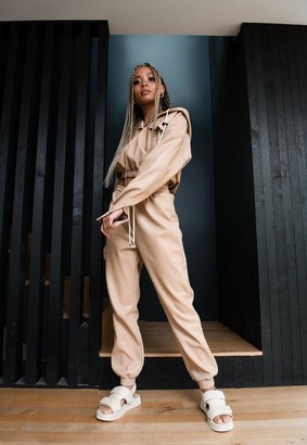 Missguided Michelle x Stone Faux Leather Joggers