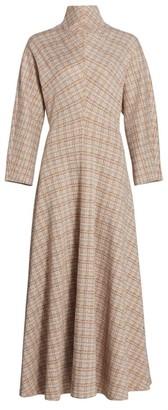 Rosetta Getty Funnelneck Woven Plaid Dress