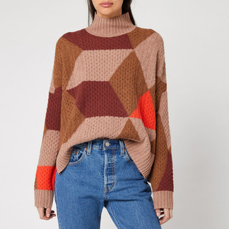 Whistles Women's Cable Intarsia Wool Knit Jumper