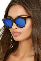 LuLu*s California Day Black and Blue Mirrored Sunglasses