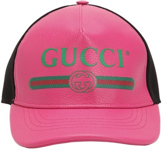 Gucci Vintage Logo Leather Trucker Hat