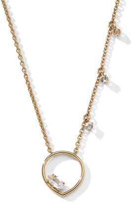 Nadri 18K Yellow Gold Plated CZ Charm O-Ring Pendant Necklace