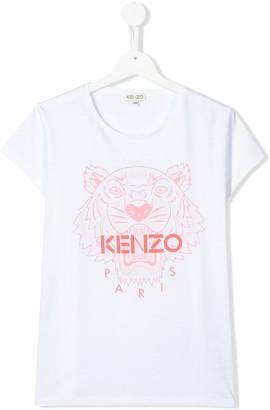 Kenzo TEEN tiger print cotton T-shirt