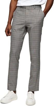 Topman Highlight Plaid Stretch Skinny Trousers