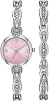 JCPenney FASHION WATCHES Womens Crystal Dainty Glitz Watch and Bracelet Set