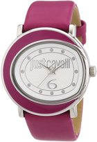 Just Cavalli Women's R7251186503 Lac Stainless Steel Hot Pink Genuine Leather Swarovski Crystal Watch