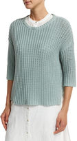 Eileen Fisher 3/4-Sleeve Tape-Neck Knit Top
