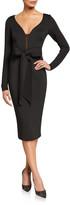 Badgley Mischka V-Neck Long-Sleeve Scuba Dress with Bow