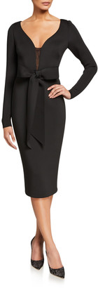 Badgley Mischka V-Neck Long-Sleeve Scuba Dress with Bow