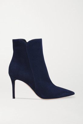 Gianvito Rossi Levy 85 Suede Ankle Boots - Midnight blue