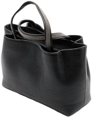 Fabiana Filippi Melania Handbag With Double Handles With Monili And Zip Closure And Double Compartments With Shoulder Strap Measuring 23 X 17 X 9 Cm