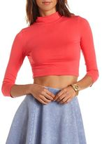 Charlotte Russe 3/4 Sleeve Mock Neck Crop Top