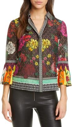 Alice + Olivia Rivera Mixed Pattern Cotton & Silk Shirt