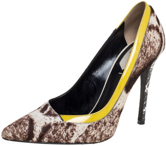 Fendi Brown/Yellow Printed Calf Hair And Patent Leather Trim Pointed Toe Pumps Size 37