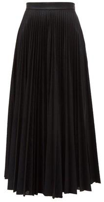 Emilia Wickstead Sunshine Pleated Metallic-jersey Midi Skirt - Womens - Black