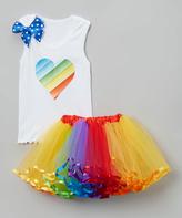 Beary Basics Rainbow Heart Tank & Tutu - Infant Toddler & Girls